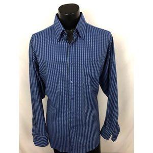Bugatchi Uomo Button Up Shirt Striped Blue XL